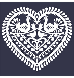 Folk heart pattern for Valentines Day vector image