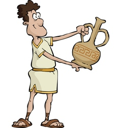 greek man with a vase vector image vector image