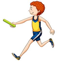 Man athlete running relay vector