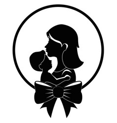 mother holding baby icon vector image vector image