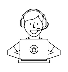 Person working in laptop call center vector