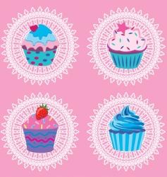 retro cupcakes vector image vector image