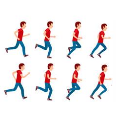 Running man animation sprite set 8 frame loop vector