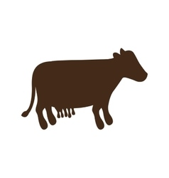 silhouette brown color with milch cow vector image