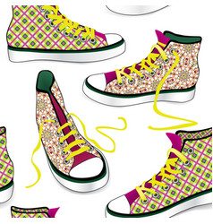 Sneakers tile background different sport shoes vector