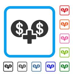 Sum money framed icon vector