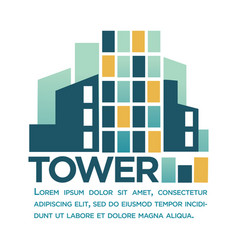 Tower business company logotype with sign and text vector