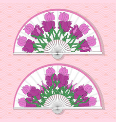 Two asian folding paper fans vector