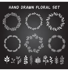 Vintage set of hand drawn rustic wreaths and vector image