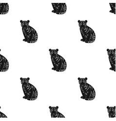 Young tigeranimals single icon in black style vector