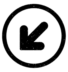 Arrow down left icon rubber stamp vector