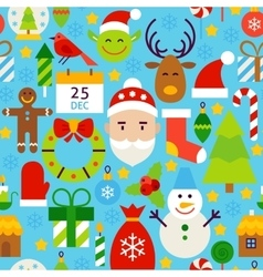 Merry christmas blue tile pattern vector