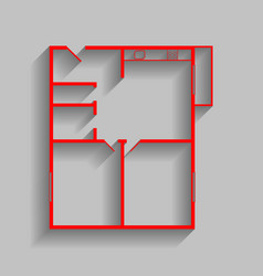 apartment house floor plans  red icon with vector image