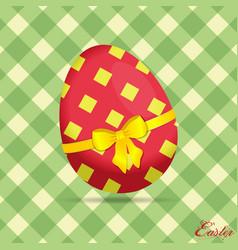 crossed stripes easter egg on green background vector image