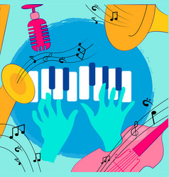 colorful music instruments design vector image
