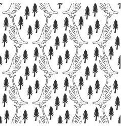 Seamless pattern with pine trees and horns in vector