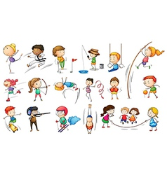 Kids engaging in different sports vector