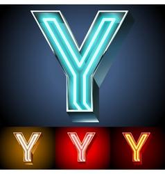 Realistic neon tube alphabet for light board vector image