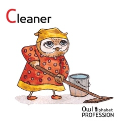 Alphabet professions owl letter c - cleaner vector