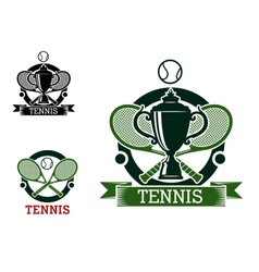Tennis tournament emblems with crossed rackets vector