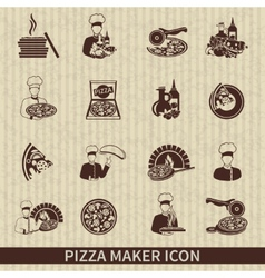 Pizza maker icon black vector