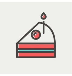 Slice of cake with candle thin line icon vector