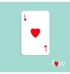 Playing card love red heart flat vector