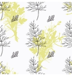 Hand drawn dill branch and handwritten sign spicy vector