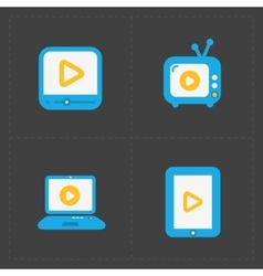 Modern flat video player icons vector