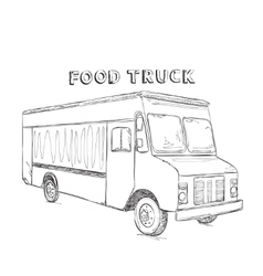 Hand drawn food truck vector