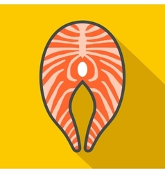 Salmon steak icon flat style vector