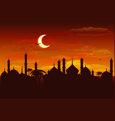 Moon in night sky over mosque ramadan kareem vector