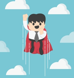 Super businessman flying fast on the sky vector