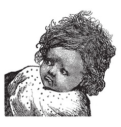 Baby girls face vintage engraving vector