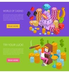 Casino horizontal isometric banner vector