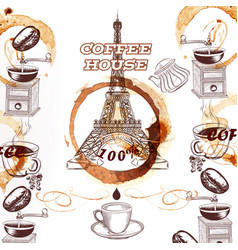 coffee background with hand drawn eiffel tower vector image vector image