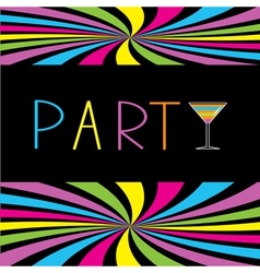 Colorful cocktail party card martini glass vector
