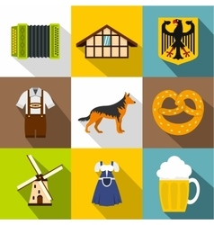 Country germany icons set flat style vector