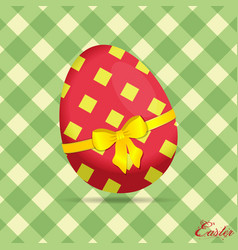 crossed stripes easter egg on green background vector image vector image