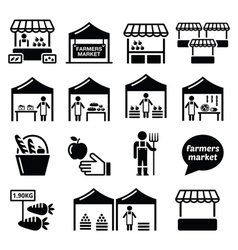 Farmers market food market with fresh local vector image vector image