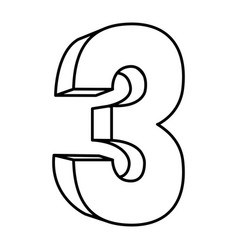 Figure number three icon vector