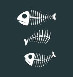 fish bones isolated fishy skeleton on white vector image