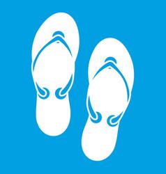 Flip flop sandals icon white vector