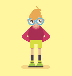 geek logo nerd glasses icon man character smart vector image