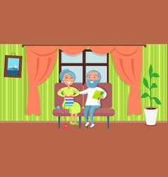 Happy grandparents day senior couple sit together vector