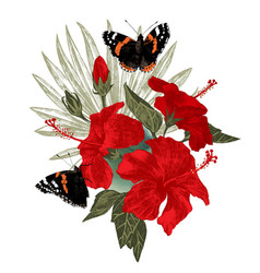 Hibiscus flowers with butterflies and palm leaf vector