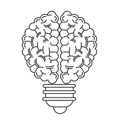 Human brain lightbulb icon vector