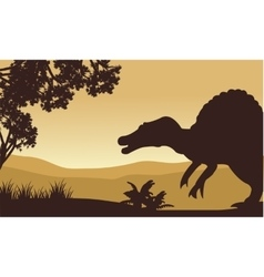 Landscape of spinosaurus in hills vector