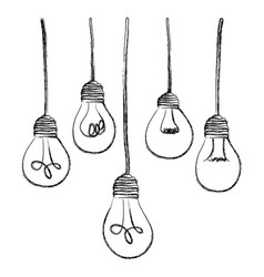 Light bulbs hanging icon vector