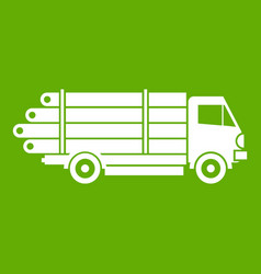 Log truck with the pile of logs icon green vector